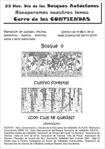 dia de los bosques autóctonos, plantación en el cerro de las contiendas, Valladolid